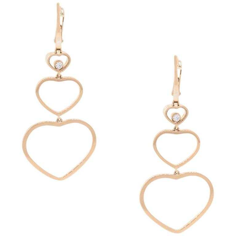 Chopard Diamond Rose Gold Hy Hearts Long Dangle Earrings For