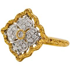 Diamond Yellow Gold Hand Engraved Floral Motif Ring