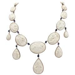 Multi Cameo Blue Sapphire Gold  Necklace
