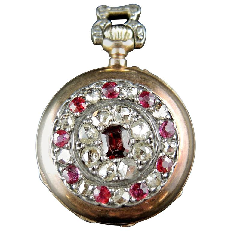 Rose Gold Diamonds Rubies Garnet Pocket Watch circa 19th Century 1