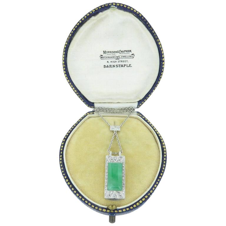 Art Deco Jade Diamond Pendant For Sale