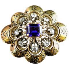 French Napoleon III Amethyst Diamond Gold Brooch circa 1850