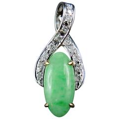 Jadeite Jade Diamonds Gold Pendant circa 1970