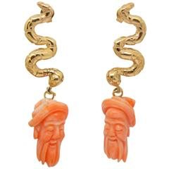 Antique Mediterranean Coral Gold Hand-Carved Lao-Tze Head Snake Earrings