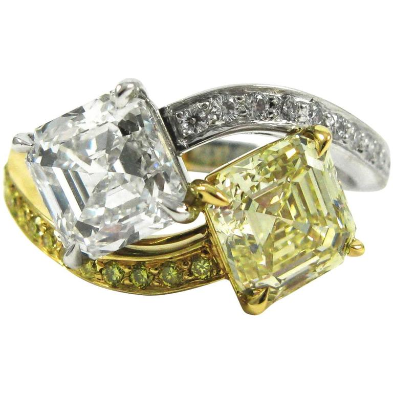 GIA Certified Fancy Yellow and White Asscher Cut Diamonds Moi et Toi Ring