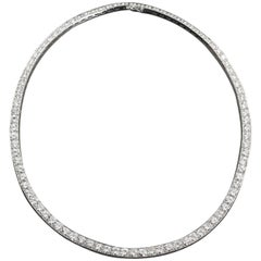 Diamond in White Gold Collar Necklace 27 Carats