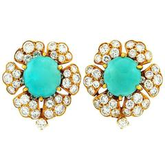 David Webb Turquoise Diamond Gold Cluster Earrings