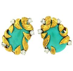 1970s David Webb Turquoise Diamond Gold Earrings