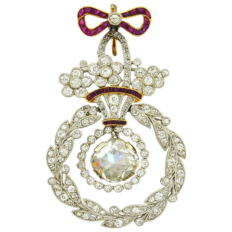 Belle Epoque Ruby Diamond Platinum Pendant For Sale