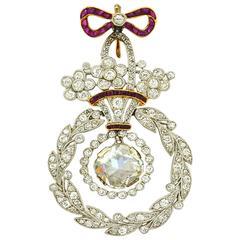 Belle Epoque Ruby Diamond Platinum Pendant