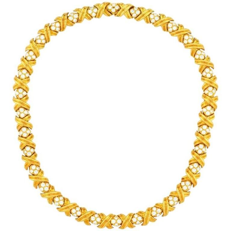 Tiffany & Co. Signature X Diamond Gold Necklace