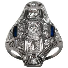 1920s Art Deco Platinum Diamond and Sapphire Shield Cocktail Ring