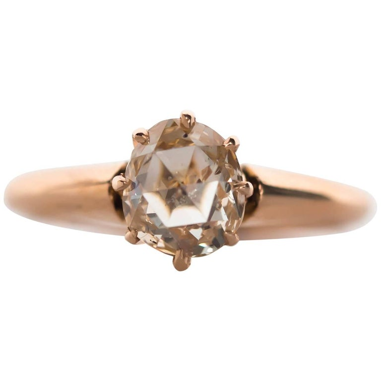 1880s Victorian .83 Carat Rose Cut Diamond Yellow Gold Engagement Ring For Sale