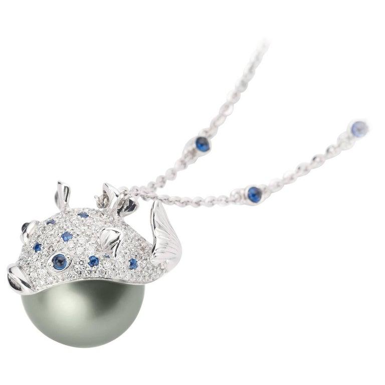 Pendant/Necklace Puffer Fish White Diamond Blue Sapphire Tahiti Pearl 18Kt Gold  For Sale