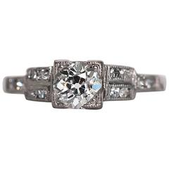 1930s Art Deco .50 Carat Old European Cut Diamond Platinum Engagement Ring