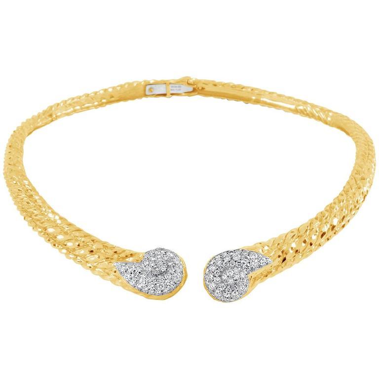 David Webb Diamond Gold Platinum Collar Necklace
