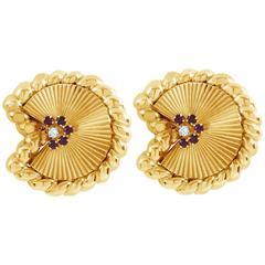 David Webb Ruby Diamond Gold Fan Earrings