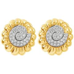 David Webb Diamond Gold Platinum Swirl Earrings