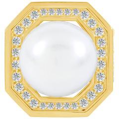 David Webb Black Onyx South Sea Pearl Diamond Gold Platinum Ring