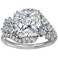 5.03 Carat Cushion Cut  Diamond Pave Leaf Diamond Engagement Ring