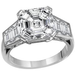 5.01 Carat Asscher Cut Diamond Engagement Ring
