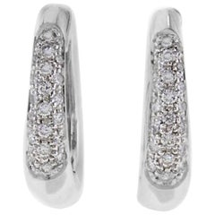 Mini-Hoop Diamond 18 kt White Gold Earrings