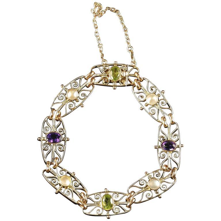 Antique Victorian Suffragette Gold Bracelet circa 1900