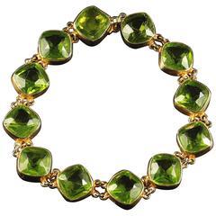 Antique Victorian Paste Bracelet Green Paste Stones circa 1880