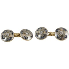 Cufflinks set with Sapphires & Diamonds in Platinum & Gold , French circa 1920