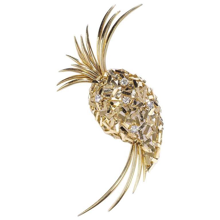 Gold Pineapple Brooch
