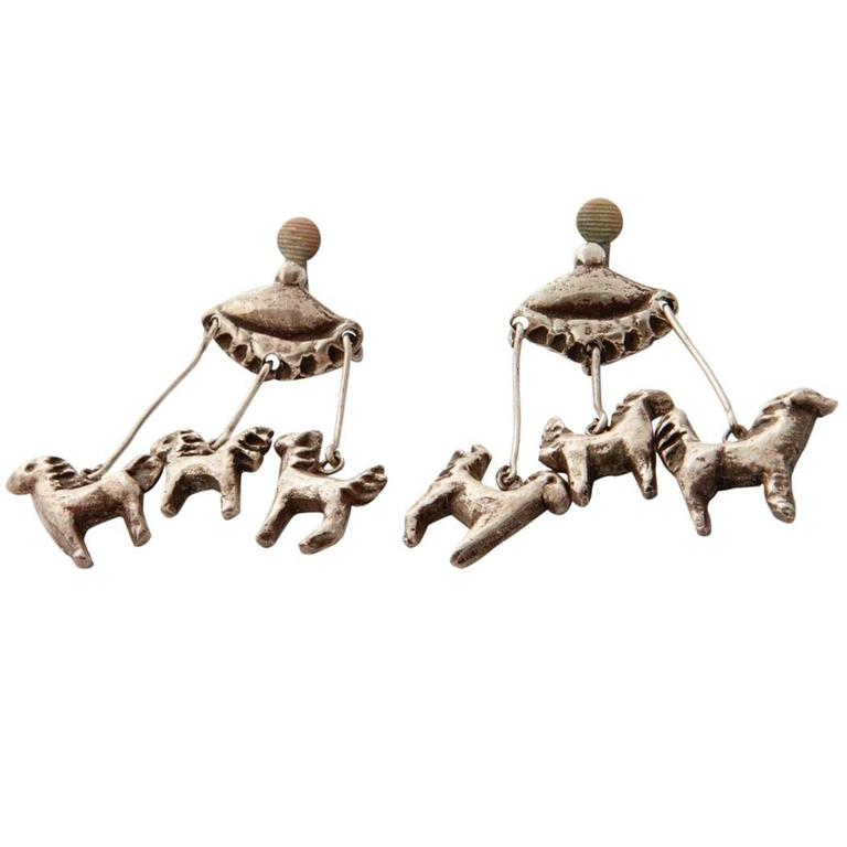 LG Treasures 1945 Line Vautrin Carousel Bronze Earrings For Sale