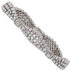 Gabuglio Brilliant and Baguette Diamond Platinum Bracelet circa 1950