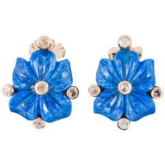 Lapis and Diamond Flower Earrings, French, circa 1950