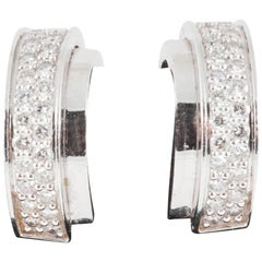 Piaget Earrings Creole Shape in 18 Karat White Gold & Diamonds, Swiss circa 1980