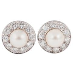 Fine Cultured Pearl and Diamond Earrings
