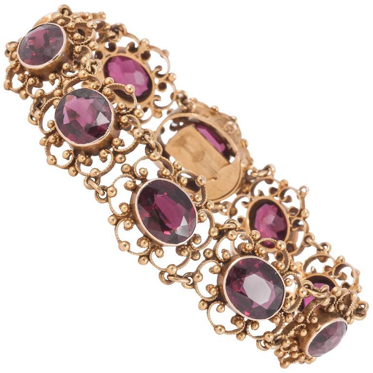 Edwardian Gold and Garnet Bracelet
