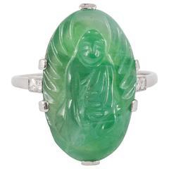 Natural Carved Jadeite Jade Diamond Gold Ring