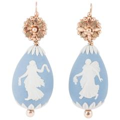 Early Victorian Wedgewood Drop Earrings