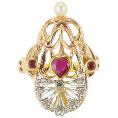 French Art Nouveau Ruby Diamond and Pearl Ring