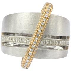 Alfieri & St. John Burnished White and Rose Gold Diamond Ring