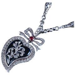 Antique Georgian Chain Blue Enamel Silver Witches Heart Pendant