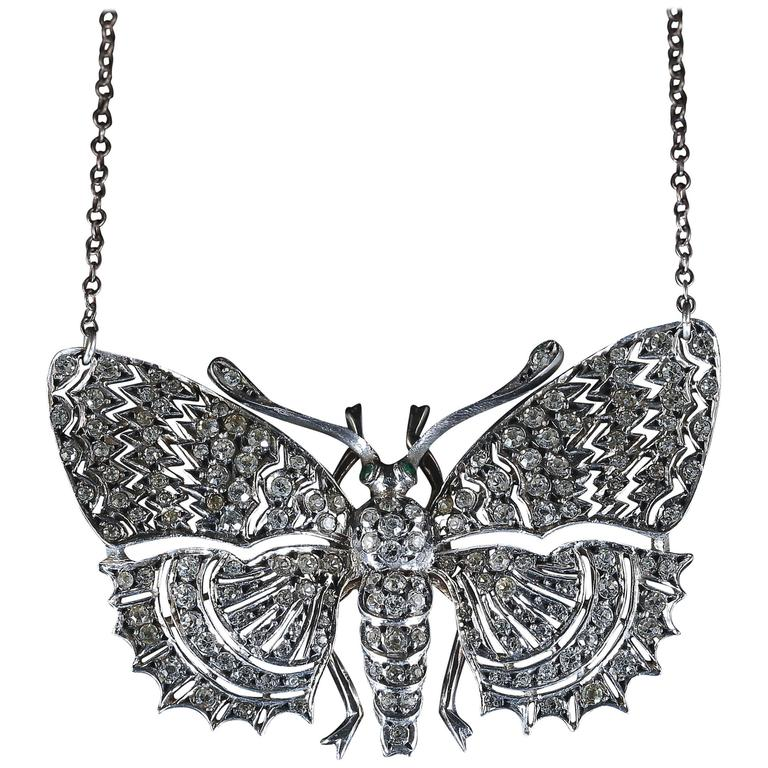 Victorian Paste Emerald Silver Butterfly Pendant Necklace