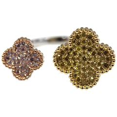Double Flower Fancy Yellow and Pink Diamond Ring