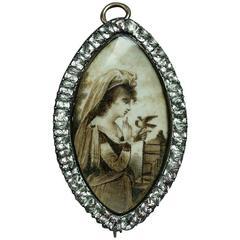 Large Georgian Sepia Miniature Pin/Pendant