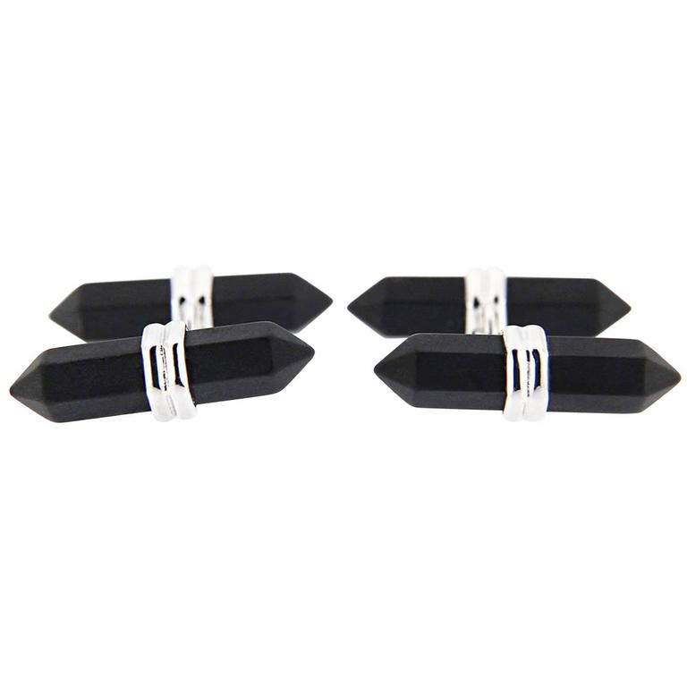 Jona Black Onyx Prism Bar Sterling Silver Cufflinks