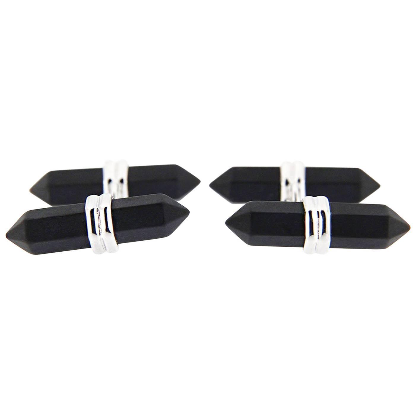 Jona Black Onyx Prism Bar Sterling Silver Cufflinks