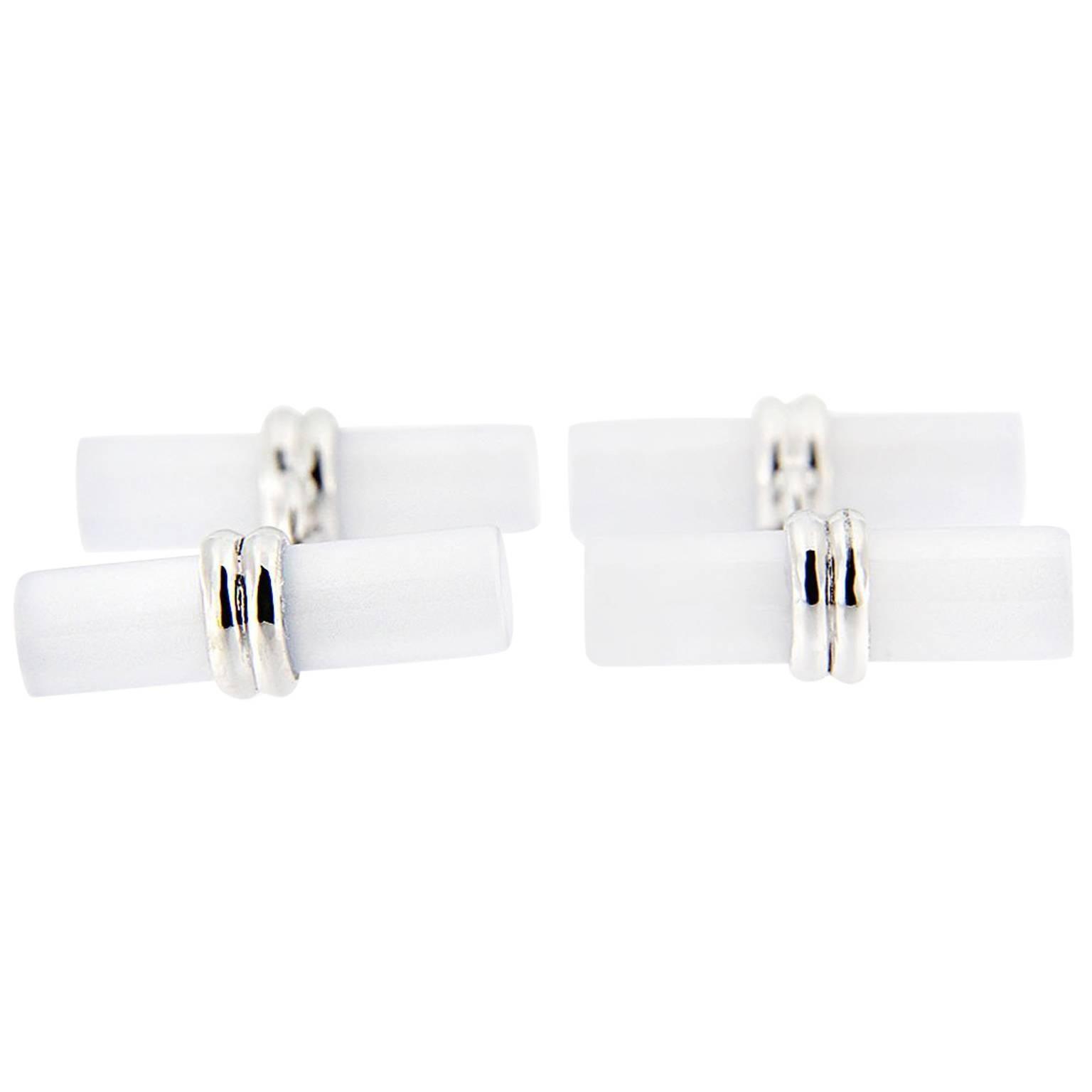 Jona Rock Crystal Cylinder Sterling Silver Cufflinks