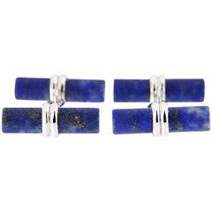 Jona Matte Finish Lapis Lazuli Sterling Silver Cylinder Bar Cufflinks
