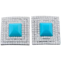 Pyramid Turquoise Diamond Earrings