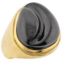 Burle Marx Forma Livre Black Tourmaline Carved Ring